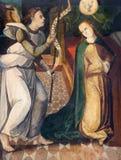 AVILA, ESPANHA, ABRIL - 18, 2016: A pintura do aviso pelo artista desconhecido 15 centavo em Catedral de Cristo Salvador fotos de stock