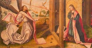 AVILA, ESPANHA: Pintura do aviso na madeira em Catedral de Cristo Salvador em Capilla del Cardenal por artista desconhecido Fotos de Stock Royalty Free