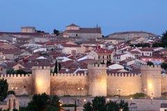 Avila illuminated at dusk, Spain Royalty Free Stock Images