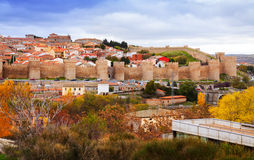 Avila with its famous town walls in autumn Stock Photography