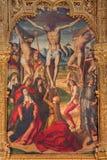 Avila - målningen av korsfästelsen på det huvudsakliga altaret av Catedral de Cristo Salvador av Pedro Berruguete 1499 Fotografering för Bildbyråer