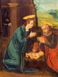 Avila - målningen av Kristi födelse på sidoaltaret av Catedral de Cristo Salvador av den okända konstnären av 16 cent Royaltyfri Foto