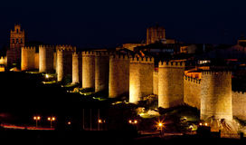 Avila at night. Castile and Leon, Spain Royalty Free Stock Images