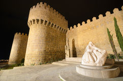 Avila at night, medieval city walls. Avila, Spain. Royalty Free Stock Photos