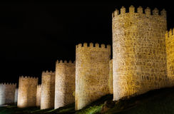 Avila at night, medieval city walls Stock Photography