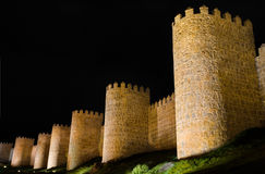 Avila at night, medieval city walls. Castile and Leon, Spain. Stock Images