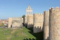 Avila`s town walls, Avila, Spain, Europe stock photography