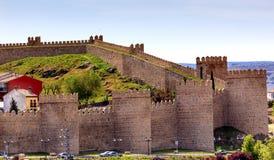 Avila-Schloss ummauert alte mittelalterliche Stadt-Olivenölseife Spanien Stockbild