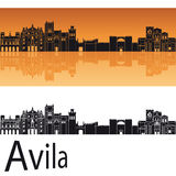 Avila-Skyline im orange Hintergrund Stockfotos