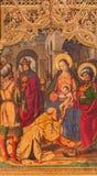 AVILA, SPAGNA, 18 APRILE AL 2016: Il paintig dei tre Re Magi sull'altare principale di Catedral de Cristo Salvador Fotografia Stock