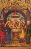 AVILA, SPAGNA, 18 APRILE AL 2016: Il paintig della presentazione nel tempio sull'altare principale di Catedral de Cristo Salvador Fotografia Stock Libera da Diritti