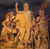 AVILA, SPAGNA, 18 APRILE AL 2016: La scultura scolpita della resurrezione di Cristo in sagrestia di Catedral de Cristo Salvador Fotografie Stock