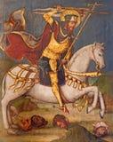 AVILA, SPAGNA, 2016: La pittura gotica dell'altare del lato del cavaliere del san in Catedral de Cristo Salvador dall'artista sco Fotografie Stock