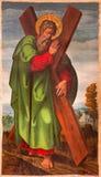 AVILA, SPAGNA: Lo St Andrew la pittura dell'apostolo in Catedral de Cristo Salvador dall'artista sconosciuto da 15 centesimo Fotografia Stock Libera da Diritti