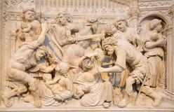 AVILA, SPAGNA: Sollievo del massacro degli innocenti sul alat del transchoir di rinascita in Catedral de Cristo Salvador Fotografia Stock Libera da Diritti