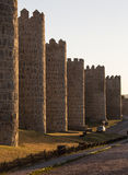 Avila - Spain. Late afternoon sunlight on the medieval city walls in the city of Avila in the Castilla-y-Leon region of central Spain Royalty Free Stock Images