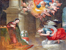 AVILA, SPAIN, 2016: The Annunciation painting in church of Real monasterio de Santo Tomas by unknown artist of 16. cent. AVILA, SPAIN, APRIL - 18, 2016: The royalty free stock photos