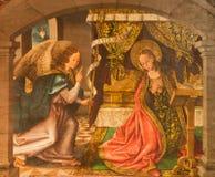 AVILA, SPAIN: Annunciation painting on the wood in Catedral de Cristo Salvador in Capilla del Cardenal by Maestro de Riofrio Royalty Free Stock Photos