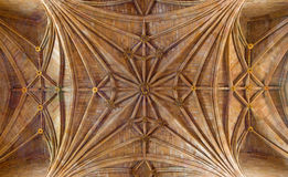 AVILA, SPAIN, APRIL - 19, 2016: The gothic ceiling of Real monasterio de Santo Tomas Royalty Free Stock Photography