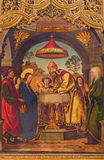 AVILA, SPAIN, APRIL - 18, 2016: The paintig of The Presentation in the Temple on the main altar of Catedral de Cristo Salvador Royalty Free Stock Photo