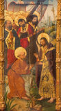 AVILA, SPAIN, APRIL - 18, 2016: The painting Mission of St. Paul by St. Peter and the apostles by Fernando Gallego 15. cent. Stock Photos