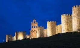 AVILA, SPAIN, APRIL - 18, 2016:The walls at dusk Stock Images