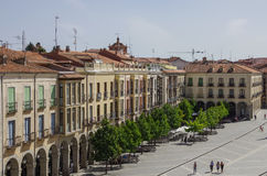 Avila, Spain - August 23, 2012: View of buildings on Plaza Sant royalty free stock images