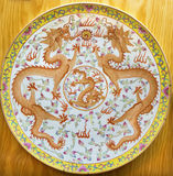 AVILA, SPAIN, 2016: The chinese plate with two dragons from the period of Qinig dynasty. AVILA, SPAIN, APRIL - 18, 2016: The chinese plate with two dragons from Royalty Free Stock Photos