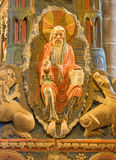 AVILA, SPAIN: Detail of God the Creator on romanesque polychrome funeral memorial Cenotafio de los Santos Hermanos Martires. AVILA, SPAIN, APRIL - 19, 2016: The Stock Photography