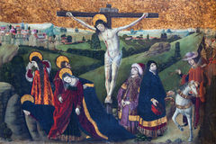 AVILA, SPAIN: Gothic paint of the Crucifixion in Catedral de Cristo Salvador from 15. cent. Stock Images