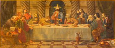 AVILA, SPAIN: The Last supper painting from 18. cent. in church Convento San Antonio by unknown artist. Royalty Free Stock Photos