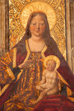 AVILA, SPAIN, 2016: The Madonna on the throne by Garcia del Barco & x28;1496& x29; in Catedral de Cristo Salvador Royalty Free Stock Images
