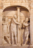 AVILA, SPAIN: Marble sculpture of Flagellation of Christ in sacristy of Catedral de Cristo Salvador on the altar. Royalty Free Stock Photo