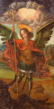 AVILA, SPAIN, 2016: The paint of archangel Michael in Catedral de Cristo Salvador by unknown artist of 16. cent. Stock Images