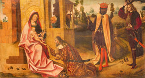 AVILA, SPAIN: Painting of Three Magi scene in Catedral de Cristo Salvador  by unknown artis of 16. cent. Stock Image