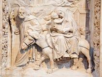 AVILA, SPAIN: Relief of Flight to Egypt on the renaissance transchoir alat in Catedral de Cristo Salvado Royalty Free Stock Image