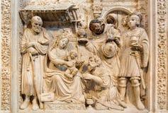 AVILA, SPAIN: Relief of Three Magi on the ranaissance transchoir alat in Catedral de Cristo Salvado Royalty Free Stock Image