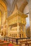 AVILA, SPAIN: Romanesque polychrome funeral memorial Cenotafio de los Santos Hermanos Martires church Basilica de San Vicente Royalty Free Stock Photos