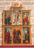 AVILA, SPAIN, 2016: The side altar in Catedral de Cristo Salvador by unknown artist of 16. cent. Stock Photos