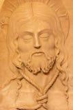 AVILA SPANIEN: Alabastirnelättnaden Santa Faz - helig framsida av Vasco de la Zarza (1515) i Catedral de Cristo Salvador Arkivfoto
