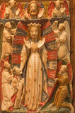 AVILA SPANIEN: Alabastrine lättnad av platsen för tre de tre vise männen i Catedral de Cristo Salvador av den okända konstnären a Royaltyfria Foton