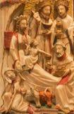 AVILA SPANIEN: Alabastrine lättnad av platsen för tre de tre vise männen i Catedral de Cristo Salvador av den okända konstnären a Royaltyfri Foto