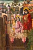 AVILA SPANIEN, APRIL - 18, 2016: Befrielsen av St Peter från fängelsemålning i sakristian av Catedral de Cristo Salvador Royaltyfri Foto