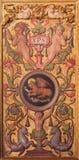 AVILA SPANIEN, APRIL - 18, 2016: Den plateresque dekorativa dörren i sakristian av Catedral de Cristo Salvador Arkivbilder