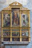 AVILA SPANIEN, APRIL - 18, 2016: Sidoaltaret i Catedral de Cristo Salvador av den okända konstnären av 16 cent Royaltyfri Fotografi