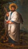 AVILA SPANIEN, APRIL - 18, 2016: Stet Bartholomew apostelmålningen i Catedral de Cristo Salvador av den okända konstnären från Royaltyfria Bilder