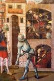 AVILA SPANIEN: Befrielse av St Peter från fängelsemålning i sakristia av Catedral de Cristo Salvador av Cornelius de Holanda Fotografering för Bildbyråer
