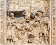 AVILA SPANIEN: Lättnad av tre de tre vise männen på renässanstranschoiralaten i Catedral de Cristo Salvado Royaltyfria Foton