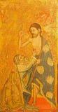 AVILA SPANIEN: Laduda de Santo Tomas - tvivlet av St Thomas målning på trät i Catedral de Cristo Salvador Royaltyfri Bild