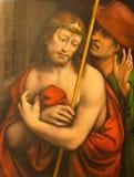 AVILA SPANIEN: Måla Ecce Homo vid Francisco de Llianos Copy av Leonardo da Vinci från 16 cent i Catedral de Cristo Salvador Royaltyfria Foton